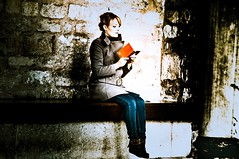 Woman reading (Kame-rameha) Tags: tr istanbul woman lady castle remains book reading street people turkey