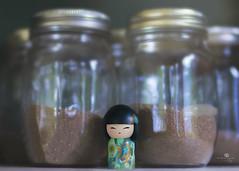 keeping memories (rockinmonique) Tags: kimmidoll doll toy masonjars jars glass sand macro green blue shine carolesshed moncton moniquewphotography canon canont6s tamron tamron45mm copyright2018moniquewphotography