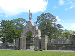 Kirkwall and St Ola War Memorial, Kirkwall, Orkney Isles, June 2018 (allanmaciver) Tags: kirkwall st ola local district war memorial arch angel torch pink granite wreath 1914 1919 1939 1945 frredom orkney north scotland central green allanmaciver