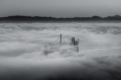Fogged Bay Bridges (tobyharriman) Tags: 2014 above adventure aerial aerialphotographer architecture art artist attractions bay bayarea baybridge beautiful bridges california canon city cityscape clear colorful custom fineart flying fog goldengatebridge helicopter infastructure landscape morning newbaybridge oakland october outdoor pacificnorthwest photographer photography photos pictures prints r22 robinson sanfrancisco sanfranciscophotography scenic sf skyline sunrise timelapsepictures tobyharriman traffic travel visit weather