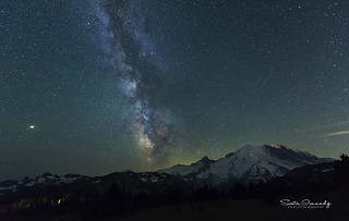 Milky Way  over Mt Rainier. ( Mt Rainier NP, Sunrise)