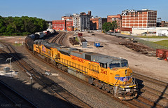 "Northbound Manifest in Kansas City, MO (""Righteous"" Grant G.) Tags: up union pacific railroad railway locomotive train trains north northbound manifest freight emd power kansas city missouri"