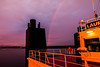 Rainbow at Sunset (langdon10) Tags: canada canon70d laurentiadesgagnes navigation quebec ship shoreline stlawrenceriver sunset tanker nautical outdoors rainbow