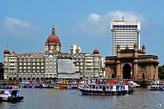 Gateway of India  & Hotel Taj (Aniruddha1978) Tags: gateway india hotel taj sea boats blue sky cloud clicked