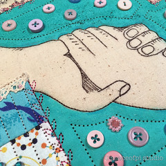 Hands (JoMo (peaceofpi)) Tags: artquilt wip sewing quilting textileart buttons hands mixedmedia fabric beads