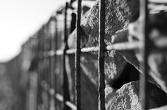 Caged within (MKREALITY) Tags: rocks cage barriers beach blackandwhite monochrome nikon d5100 shallowdepthoffield differentialfocus coastline landscape england hengistburyhead sea seascape travel explore adventure photography