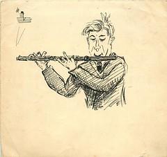 A Flautist (Michael Jefferies) Tags: england flute flautist sketch cartoon fwjefferies