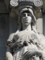 Mysterious Woman Dame Spring Caryatid NYC 5424 (Brechtbug) Tags: mysterious woman dame spring caryatid stone ladies courthouse roof statues across from madison square park new york city atlantid 2018 nyc 07152018 art architecture gargoyle gargoyles statue sculpture sculptures facade figures column columns court house law government building lady women figure form far east buildings season seasons springtime
