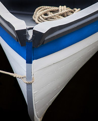 Prow (Crystal Mandolin) Tags: prow maritime rowboat blue white water lines perspective wood beauty