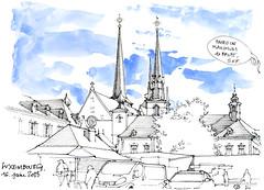 Luxembourg, un fond sonore bien trop présent ! (gerard michel) Tags: luxembourg place marché sketch croquis