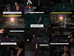 Railroad Rage (alexandriabrangwin) Tags: alexandriabrangwin secondlife 3d cgi computer graphics virtual world photography comic scene night parking train tracks car mercedes benz amg sl65 v12 twin turbo black diesel locomotive running dangerous drove around odd laws physics insane funny silly confused wife partner mondybristol shiny crocodile leather pants crop top women