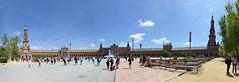 Place d'Espagne , Seville; Andalousie (maxguitare1) Tags: architecture palais nikon espagne andalousie gens rente people pano panoramique personnes