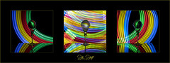 Refractive Light Painting. (Sue Sayer) Tags: ledtorch light painting colour red green yellow blue glassball glass lowkey bright