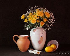 Still life vase of yellow roses (Phyllis Freels) Tags: phyllisfreels babysbreath bowl brown flowers lemon napkin pitcher rose spoon stilllife terracotta vase yellow
