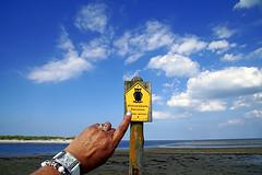 Hier darf ich nicht weiter! (ingrid eulenfan) Tags: darss prerow strand himmel wolken hand naturschutzgebiet schmuck uhr schild hinweisschild