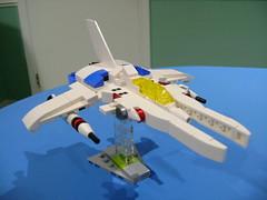 Custom Lego Vic Viper spaceship from the video game Gradius (TekBrick) Tags: custom lego vic viper gradius spaceship white video game moc 164 parts pieces bricks konami