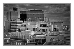 lofts and roof decks (heinzkren) Tags: architektur architecture schwarzweis blackandwhite bw sw monochrome panasonic lumix wien vienna skyline loft roof building gebäude luxury luxus innenstadt city cityscape fleischmarkt