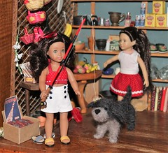 Mini Nanea is ready to go fishing. (Crazyquilter) Tags: mininanea naneamitchell beforever amercangirl doll minidoll miniamericangirl 1941 adad 30daysoneobject ponosmarket generalstore miniatures diorama dollhouse 19scale printables vintagepackaging vintagedisplays loridoll tama needlefelteddog minimele