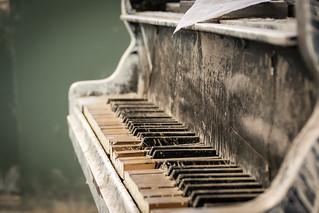 Piano at the abandoned tuberculosis hospital Beelitzer Heilstätten near Berlin, Germany.