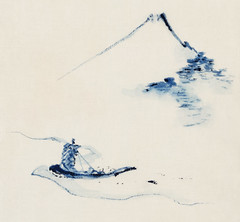 A Person in a Small Boat on a River with Mount Fuji in the Background by Katsushika Hokusai published between 1830 and 1850. Digitally enhanced from our own original edition. (Free Public Domain Illustrations by rawpixel) Tags: antique arts artwork asia asian beautiful blue boat brush cultural decoration drawing eastern fineprints fuji hokusai illustration image isolated japan japanese japaneseart katsushika katsushikahokusai landmark locimage mountfuji mountain old outline paint painting person retro river sail sailing sailor shadow ship simplicity smallboat traditional ukiyoe vintage woodblock woodcut