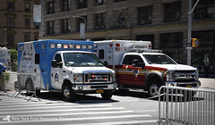 A FDNY Ambulance and a Mount Sinai Ambulance (nyfrp) Tags: new york state nys city nyc manhattan downtown midtown flatiron district building nypd fdny mount sinai nysp police car vehicle policecar pd communincations truck ambulance charger fpis ford chevy explorer taurus esu emergency services