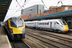 Hull Trains 180109 and IEP 800202 - Doncaster (Neil Pulling) Tags: hulltrains doncasterstation railway eastcoastmainline ecml transport train class180 class800 lner 800202 180109 iep
