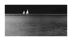 Sailing (geraldkoenigsohn) Tags: retro canon60d canon monochrome ruhig calm minimalistic landscape boats contrast schwarzweis blackandwhite laachersee lake