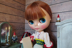 Washing up (Foxy Belle) Tags: blythe doll dollhouse 16 scale playscale cabin cottage wood wooden ooak repainted barbie furniture spray paint chalk room rustic shabby chic neo joana gentiana 2017 redhead maiden old fashioned bedroom wash stand gnome candle