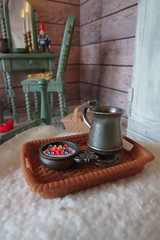Breakfast (Foxy Belle) Tags: blythe doll dollhouse 16 scale playscale cabin cottage wood wooden ooak repainted barbie furniture spray paint chalk room rustic shabby chic bedroom wash stand