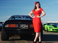Holly_9154 (Fast an' Bulbous) Tags: pontiac transam american muscle car vehicle automobile girl woman hot sexy wife people outdoor pinup model red wihhle dress stockings high heels long brunette hair