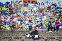 20180629_F0001: Posers at the Lennon Wall (wfxue) Tags: czech prague city wall lennonwall graffiti streetart art tourism historical history people posing musician busking guitar trees street candid portrait