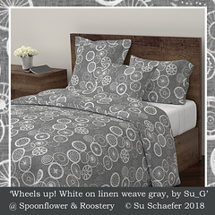 Design Challenge entry: 'Wheels up! White on linen weave gray, by Su_G': duvet cover mockup (Su_G) Tags: wheelsupwhiteonlinenweavegraybysu sug 2018 spoonflower spoonflowercontest spoonflowerdesignchallenge wheels cycle wheel circle circles gray grayscale grays grayandwhite chalk chalktexture designchallenge handdrawn roostery duvet duvetcover doonacover doona quiltcover quilt mockup upholstery fourwheels linenweavetexture linenweave fauxweave softfurnishing softfurnishings homedecor homefurnishing homefurnishings decor bedding bedlinen homeware homewares genderneutral spokes wheelspokes travellingaustralia travelingaustralia