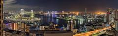 Tokyo Waterfront Panorama (kbaranowski) Tags: japan japaneseculture tokyo skyline rainbowbridge shibaura kaigandori odaiba tokyobay highway cityscape night