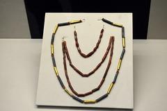 London, England, UK - British Museum - Mesopotamia - Gold, Lapis Lazuli, and Carnelian Beads, 2000-1600 BC (jrozwado) Tags: europe uk unitedkingdom england london museum britishmuseum history culture anthropology mesopotamia jewelry