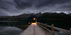 Storm light (Lee Roach - Fenix Blue) Tags: newzealand southisland pier lake lightpole light sunrise storm snow remote