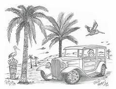 Old Mans (rod1691) Tags: myart art sketchbook bw scfi grey concept custom car retro space hotrod drawing pencil h2 hb original story fantasy funny tale automotive illustration greyscale moonpies sketch sexy voodoo