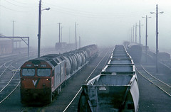 Misty dawn at Goulburn (Bingley Hall) Tags: australia newsouthwales rail railway railroad transport train transportation trainspotting diesel locomotive engine goulburn vline g522 railpage:class=3 railpage:loco=g522 rpauvicgclass1 rpauvicgclass1g522 yard freight emd 645e3 clydeengineering