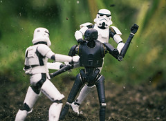 K2SO Fighting Stormtroopers (Jezbags) Tags: k2so fighting stormtroopers starwars rogueone trooper troopers stormtrooper dirt toy toys bandai shfiguarts canon canon80d 80d 100mm closeup upclose macro macrophotography macrodreams droid fight