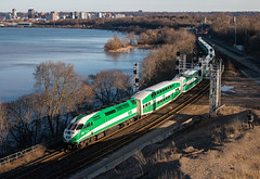 GO to Bey-view (Wheelnrail) Tags: go transit got hamilton ontario on canada bayview junction train trains passenger cn canadian national skyline city sunset sun set