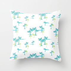 Oasis (atlantic blue) (The Wallpaper Files) Tags: design fabricpattern oasis tropical palms flamingos ocean atlantic blue green
