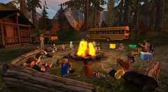 Scout camp (cadeSL) Tags: sl secondlife second life virtual world scout scouts boy boys bus fire stories songs uniform logs youth group outdoors trees ground sitting relaxing chatting fun entertainment cabin