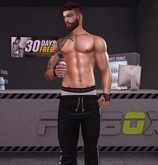 Gym Time (AW02) Tags: sl secondlife photography mesh avatar bodybuilder shapes skins signaturebody straydog dappa tattoo appliers clothes yasumdesign realevil stealthic hysteria