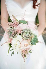 Pink Flowers Inspiration : Jen's Blossoms Jon & Moch Photography, bridal bouquet with succulents, astil…