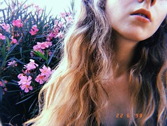 voices in my head telling me i'm gonna end up dead (<lisvgrvce) Tags: girl redhead redhair red hair face lips freckles skin flowers roses pink nature plant loano liguria savona italy italia film analog photo photography hujicam huji
