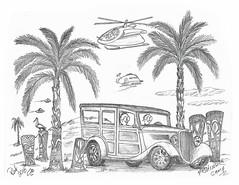 Fishing Camp (rod1691) Tags: myart art sketchbook bw scfi grey concept custom car retro space hotrod drawing pencil h2 hb original story fantasy funny tale automotive illustration greyscale moonpies sketch sexy voodoo