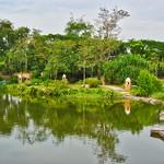 Lake with reflections in Muang Boran (Ancient Siam) in Samut Phrakan province, near Bangkok, Thailand thumbnail