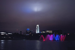 Happy 4th, Omaha! (Tiara Rae Photography) Tags: independence day fourth 4th july downtown omaha skyline fountain long exposure red white blue water reflection buldings cityscape