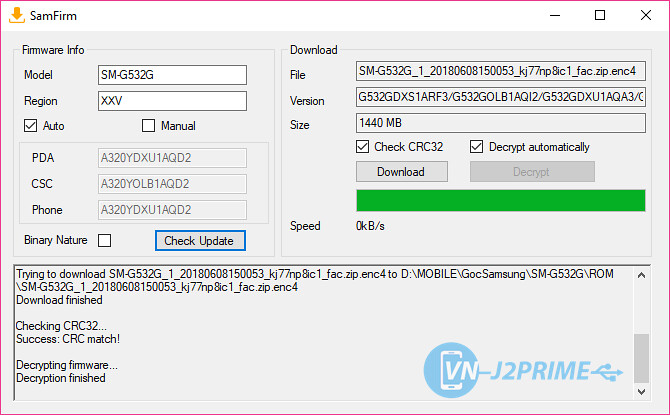 Quá trình download firmware Samsung hoàn tất