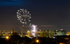 Shaw Fireworks (ep_jhu) Tags: neighborhood night fireworks 4thofjuly washington 7d dark basilicaofthenationalshrineoftheimmaculateconception 4th cua canon dc basilica fuegosartificiales