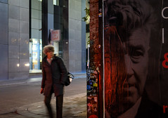 David and the lady (Leon Sammartino) Tags: streetphotography streetart advertising david lynch old night fujifilm niftyfifty 35mm f2 prime